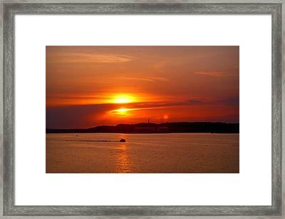 Sunset Over Lake Ozark Framed Print by Cricket Hackmann