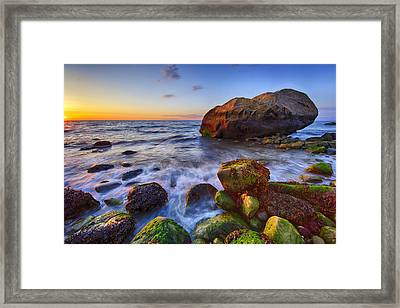 Sunset Over Long Island Sound Framed Print by Rick Berk