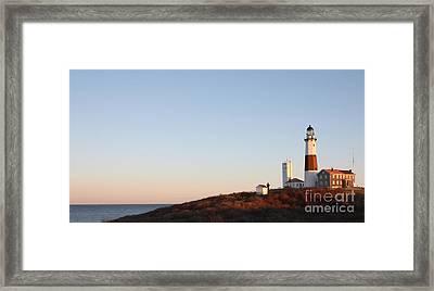 Sunset Over Montauk Lighthouse Framed Print by John Telfer