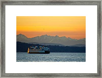 Sunset Over Olympic Mountains Framed Print by Dan Mihai