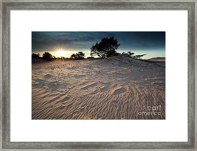 Sunset Over Sand Dune Framed Print by Olha Rohulya