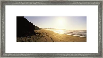 Sunset Over The Beach, Lagos, Faro Framed Print by Panoramic Images