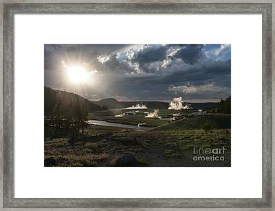 Sunset Over The Firehole River - Yellowstone Framed Print by Sandra Bronstein