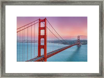 Sunset Over The Golden Gate Bridge Framed Print by Sarit Sotangkur