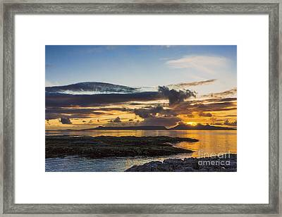 Sunset Over The Inner Hebrides Framed Print by Hugh McKean