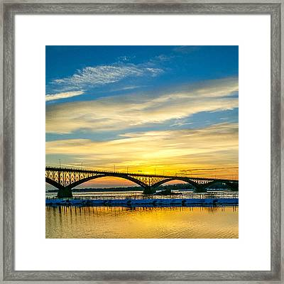 Sunset Over The Peace Bridge Framed Print by Chris Bordeleau