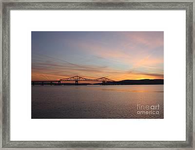 Sunset Over The Tappan Zee Bridge Framed Print by John Telfer