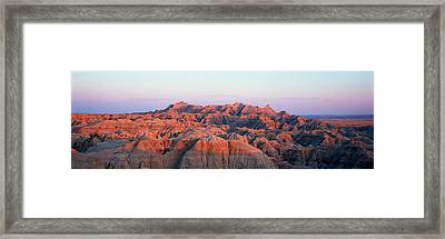 Sunset Panoramic View Of Mountains Framed Print by Panoramic Images