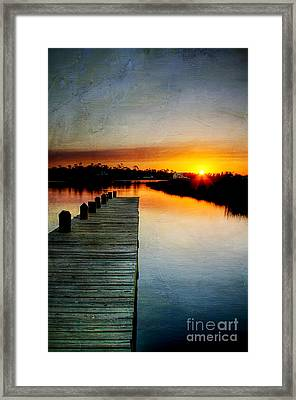 Sunset Pier Framed Print by Joan McCool