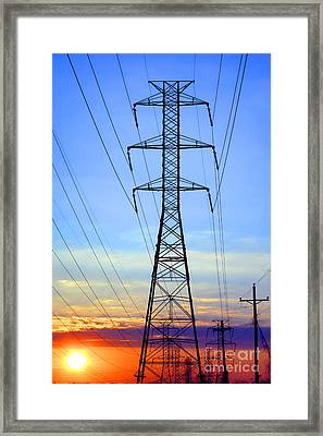 Sunset Power Lines Framed Print by Olivier Le Queinec