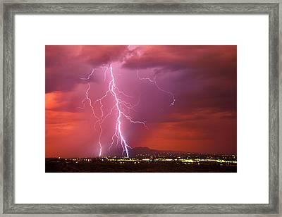 Sunset Rainstorm As Seen Framed Print by Thomas Wiewandt