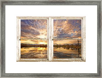 Sunset Reflections Golden Ponds 2 White Farm House Rustic Window Framed Print by James BO  Insogna