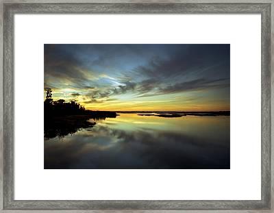 Sunset Reflections. Lake Gentry. Framed Print by Chris  Kusik