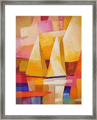 Sunset Sailboats Framed Print by Lutz Baar