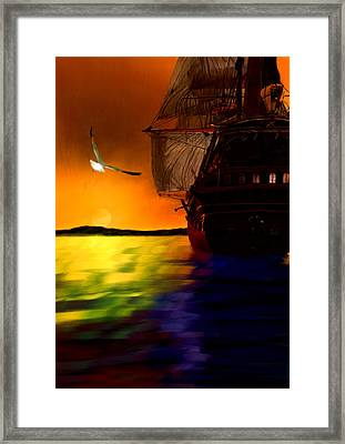 Sunset Sails Framed Print by Lourry Legarde