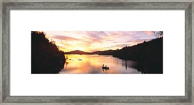Sunset Saranac Lake Franklin Co Framed Print by Panoramic Images