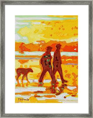 Sunset Silhouette Carmel Beach With Dog Framed Print by Thomas Bertram POOLE