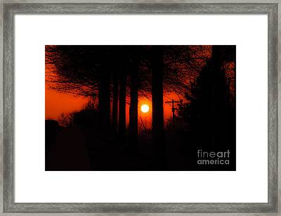Sunset Silhouette Painterly Framed Print by Andee Design