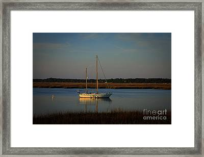 Sunset Sailboat At Beaufort Sc Framed Print by Reid Callaway