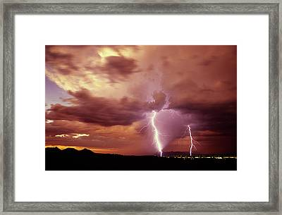 Sunset Storm As Seen From The Tucson Framed Print by Thomas Wiewandt