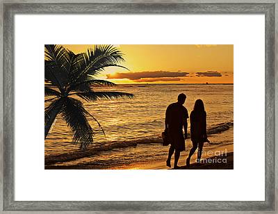 Sunset Stroll Framed Print by Cheryl Young