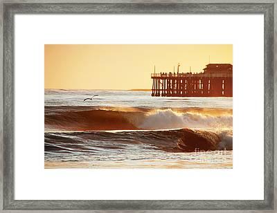 Sunset Surf Santa Cruz Framed Print by Paul Topp