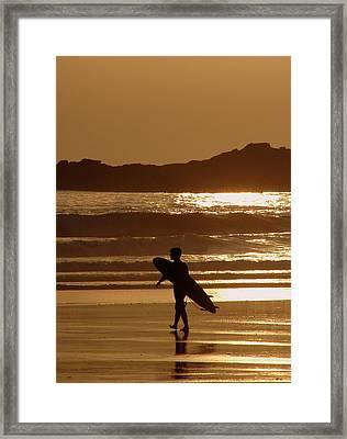 Sunset Surfer Framed Print by Ramona Johnston