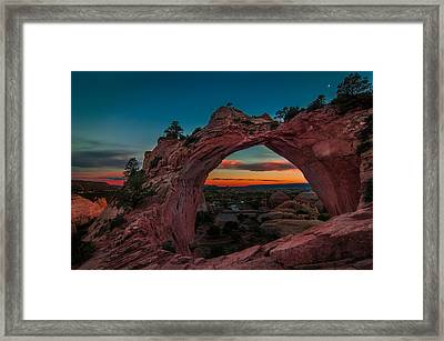 Sunset Through Window Rock Framed Print by Erica Hanks