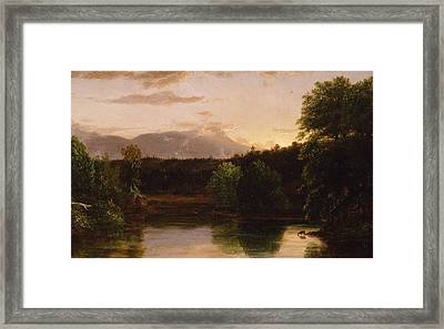 Sunset  View On Catskill Creek Framed Print by Thomas Cole