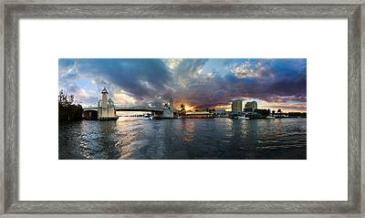 Sunset Waterway Panorama Framed Print by Debra and Dave Vanderlaan