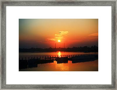 Sunset With A Plane Framed Print by Sourav Bose