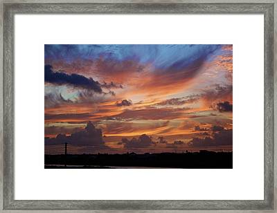 Sunset With Feathers In The Sky Framed Print by Jennifer Lamanca Kaufman