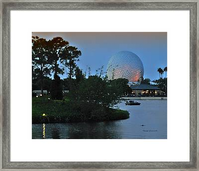 Sunset World Showcase Lagoon Framed Print by Thomas Woolworth
