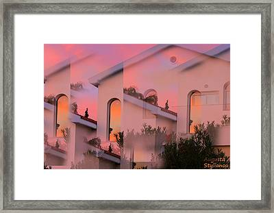 Sunsets On Houses Framed Print by Augusta Stylianou