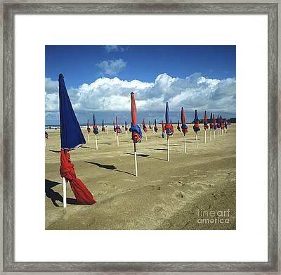 Sunshades On The Beach. Deauville. Normandy. France. Europe Framed Print by Bernard Jaubert