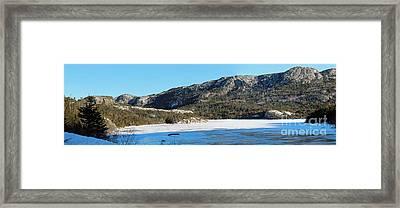 Sunshine - Shadows - Snowmobile Tracks Framed Print by Barbara Griffin