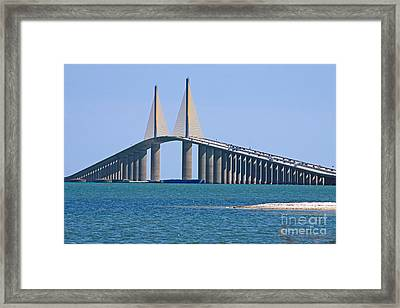 Sunshine Skyway Bridge Framed Print by Delmas Lehman
