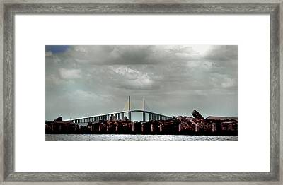 Sunshine Skyway Bridge Framed Print by Joseph G Holland
