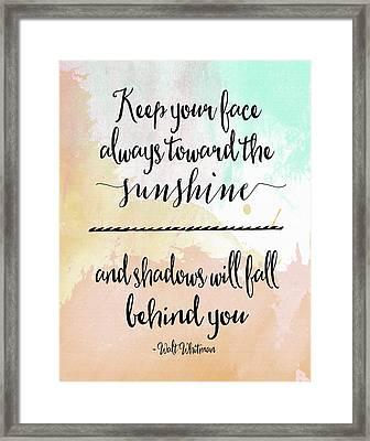Sunshine - Walt Whitman Framed Print by Tara Moss