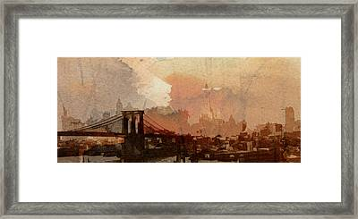 Sunsrise Over Brooklyn Bridge Framed Print by Stefan Kuhn