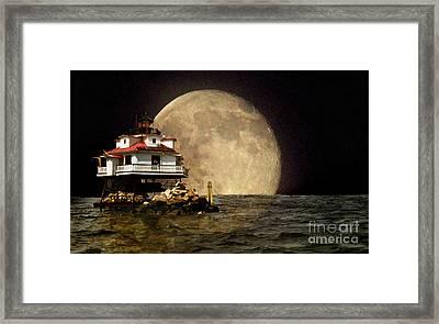 Super Moon Lighthouse Framed Print by Skip Willits