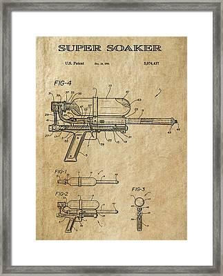Super Soaker Patent Art 1991 Framed Print by Daniel Hagerman