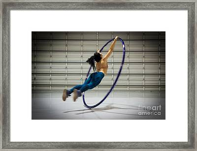 Supergirl On Cyr Wheel Vs.1 Framed Print by Mary AD Art