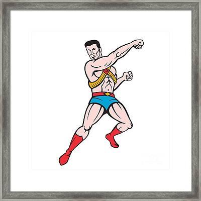 Superhero Punching Cartoon Framed Print by Aloysius Patrimonio
