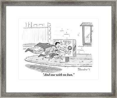 Superman And A Dog In A Cape Are Seen Placing An Framed Print by Danny Shanahan