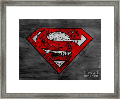 Superman And Doomsday R G Framed Print by Justin Moore