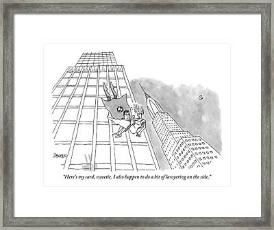 Superman Gives His Card To A Woman He Is Saving Framed Print by Jack Ziegler