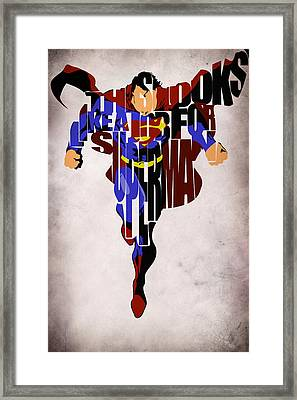 Superman - Man Of Steel Framed Print by Ayse Deniz