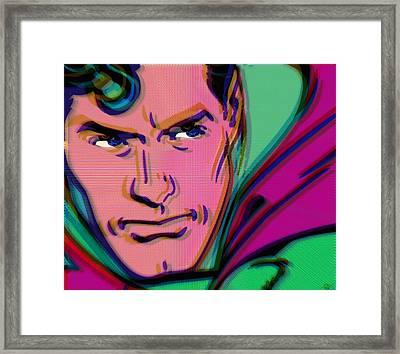 Superman Pop 2 Framed Print by Tony Rubino