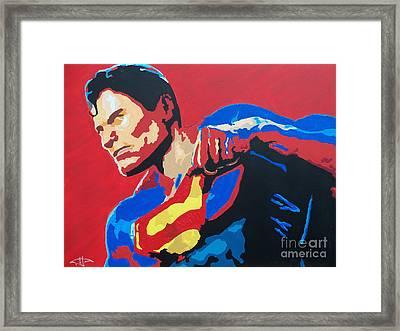 Superman - Red Sky Framed Print by Kelly Hartman